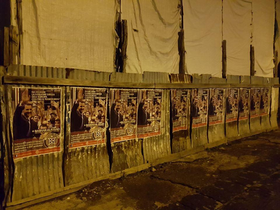 """Siria, in 90 città italiane i manifesti pro-Assad di CasaPound: """"da sei anni la migliore difesa dell'Europa contro il terrorismo"""